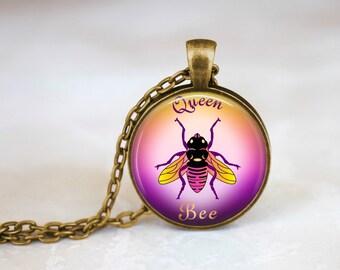 Pink Queen Bee Handmade Pendant Necklace