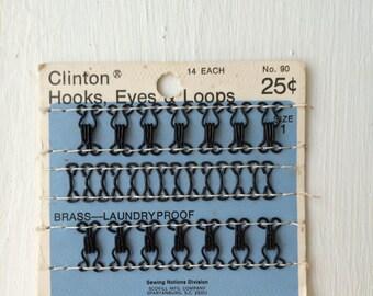 Vintage Clinton Black Metal Hooks Eyes and Loops 14 Each Size No. 1