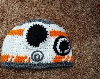 Crochet child size Star Wars BB8 hat