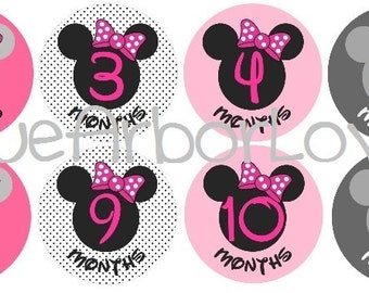 Baby Girl Minnie Month 2 Month Onesie Stickers, Baby Shower Gift