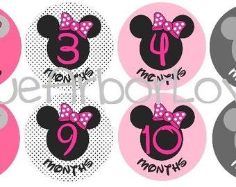Baby Girl Minnie Month 2 Month Onesie Stickers, Baby Shower Gift