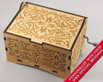 "Jewelry Music Box,  ""Fur Elise"" by Beethoven, Laser Engraved Wood Hand Crank Storage Music Box"