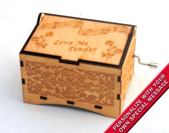 Jewelry Music Box Love Me Tender by Elvis Presley Laser Engraved