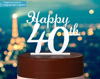 "40th Birthday Cake Topper - ""Happy 40th"" - WHITE - OriginalCakeToppers"