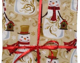 "Sale, Christmas Napkins, Cloth Napkins, Snowmen Napkins, Kids Lunch Napkins, Lunchbox Napkins, Napkins, Set of 4, 16""x 16"" (N121)"