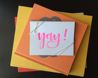 """Pack of 5 """"Yay!"""" cards & envelopes"""