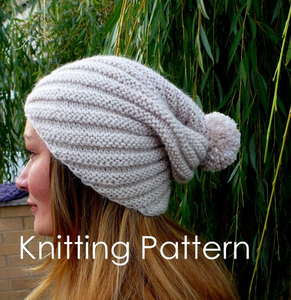 Diagonal Spiral Hat Knitting Pattern