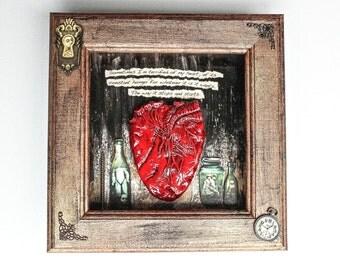Unique Anatomical Human Heart Oddities Shadow Box With Poe Lyrics