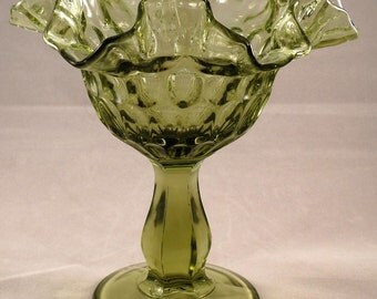 Fenton green glass compote, thumbprint pattern with a double crimped edge