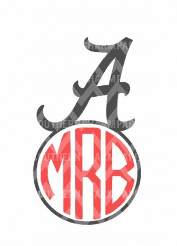 alabama initial a circle monogram svg cut file for silhouette