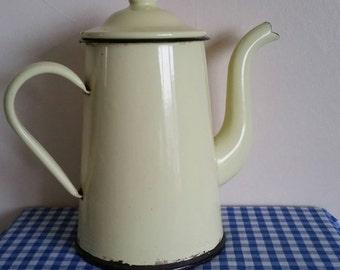 Vintage French yellow cream enamelled coffee pot