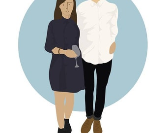 Cute couple illustrated portraits, Valentines special