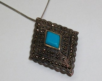 Antique silver pendant/brooch 925 Silver Markasiten turquoise old vintage SK142