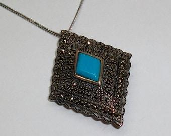 Antique silver pendant/brooch 925 Silver Markasiten turquoise old vintage SK142