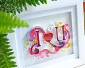 Quilling art Quilling wall art Quilling paper art Love Heart  Wedding Anniversary Handmade Decor Design Gift Artwork