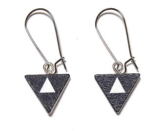 Geometric Triangle Earrings - Black & White, Triangle Earrings, Geometric Earrings, Wooden Earrings, Painted Earrings, Titanium Earrings