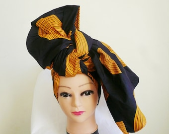 Black and Gold Record Ankara Head wrap, DIY head tie, Stylish African head scarf, Fabric hair accessory – Made to Order
