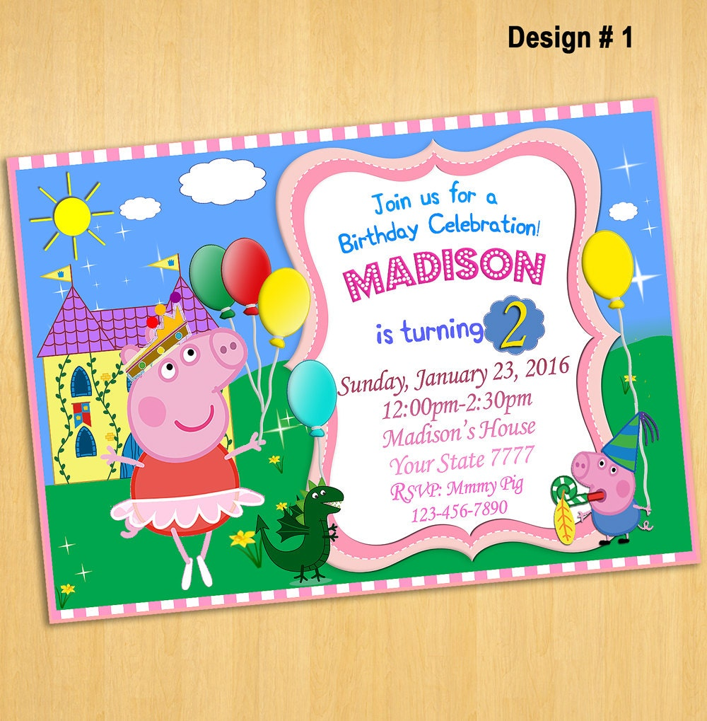 Peppa Pig Invitation Peppa Birthday Party by PrintableSolution