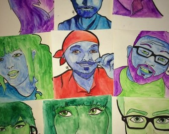Hand Painted Watercolor Portraits 9x11 1/2 inches