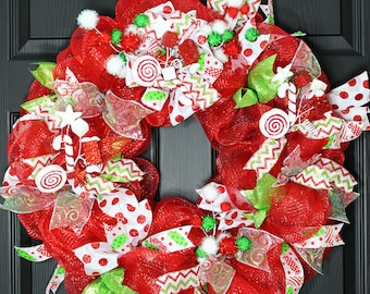 Holiday Wreath, Christmas Wreath, Winter Wreath, Xmas Wreath, Deco Mesh Wreath