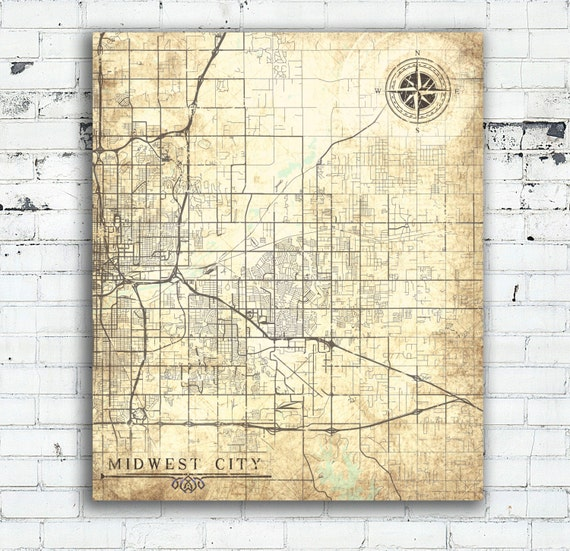 MIDWEST CITY OK Canvas Print Oklahoma Vintage Map Midwest City
