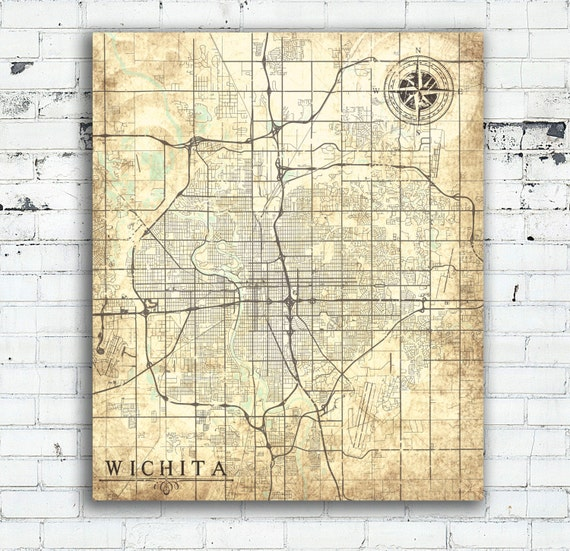 Wichita canvas print kansas ks vintage map wichita city for Craft stores wichita ks