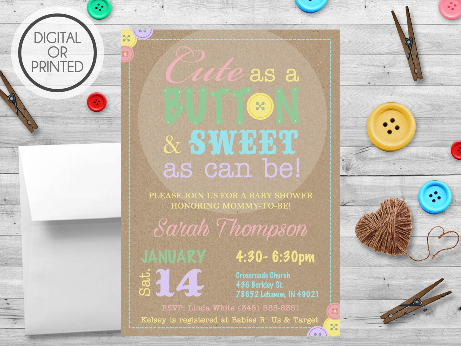 cute as a button baby shower invitation cute by greatowlcreations