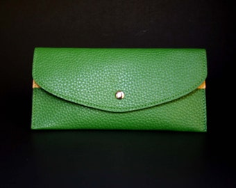 Womens Wallet, Leather Wallet, Green Wallet, Green Purse, Green Leather Purse, Green Leather Wallet.