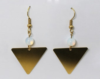 Brass triangle Opalith Earrings