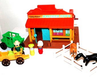 Vintage Fisher Price 1982 Little Ppeople Western Town SET #934