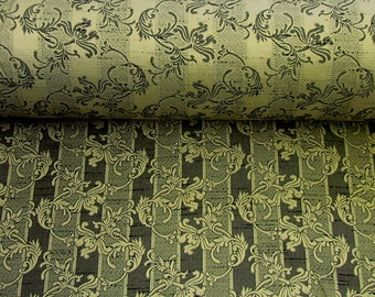 Woven  Black/Gold Upholstery Fabric Floral Stripe by the Yard