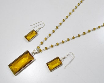 Sterling Silver Pendant Set with Yellow citrin quartz Rosary chain/ rectangle Shape Stone / Size18x44mm including Bail /Hydro quartz Jewelry