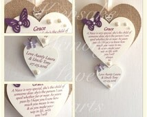 Gift for Niece personalised wooden keepsake heart with one named heart