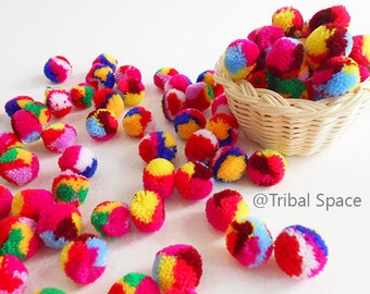 Mini Yarn pom pom, Mixed colors,Colorful,Garland party,Craft supplies 50 pom poms (PM_003)