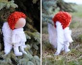 Angel Boy doll Fabric doll Tilda doll white red color Soft doll Cloth doll Textile doll Rag doll Interior doll by Master Olga Ponomareva