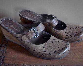 VIntage Wooden Heel Clogs