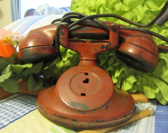 Telephone Handset Vintage RED Western Electric Bell System D1 F1 Type 202 Unique Gift Idea for the Vintage Telephone Collector Country Decor