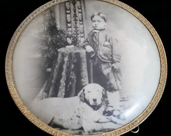 Beautiful Antique Photo of a Boy and His Dog
