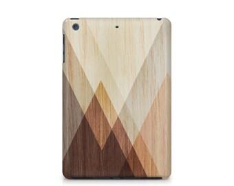 Wood Stain iPad case, Wood Grain Texture, Mountains, Triangles, Mens, Apple iPad hard shell case, ipad Mini, ipad Air, iPad 2,3,4
