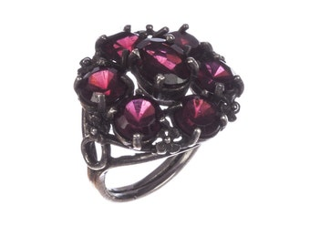 Bohemian Red Garnet Sterling Silver Forget Me Not Flower Ring