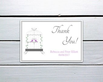 Printable Thank You Card: Pink Love Birds in Birdcage