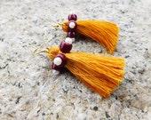 Tassel Earrings With beads Yellow Tassel Earrings Short Tassel Earrings