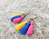 SALE! 15% OFF Tassel Earrings Multicolor Tassels Small Tassel earrings