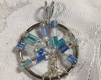 Blue and silver Tree of Life Pendant