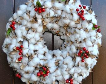 "Christmas Wreath~Cotton Boll 18.5"" Wreath~Red Berry Wreath~Rustic Christmas~Table Centerpiece"