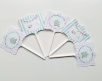 Tea Party Plaque cupcakes toppers  Set of 5