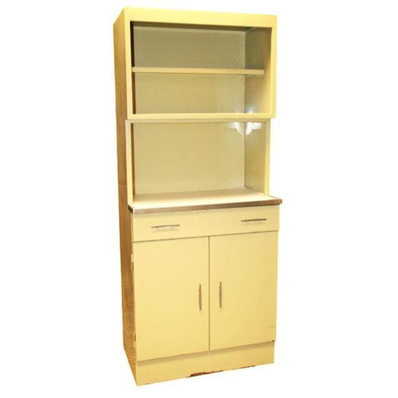 Vintage metal hutch kitchen cabinet bathroom medicine shabby for Bathroom cabinet yellow