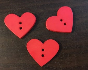 3 Heart Shaped Buttons: Red