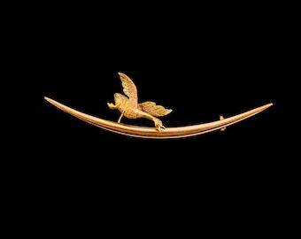 Antique 15Ct Gold Flying Bird Duck Brooch