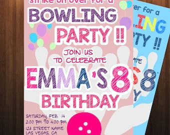 Bowling Invite Any,  Bowling Invitation, Bowling Birthday, Kids Bowling Party, Birthday Party,  Bowling Party, Bowling, Bowling Invite